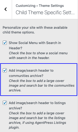 child theme settings for communities